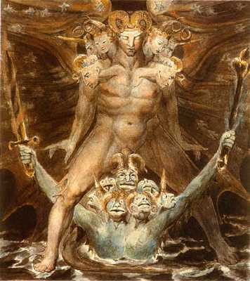The Great Red Dragon and the Beast of the Sea by William Blake